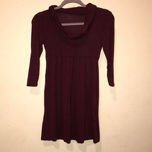 3/4 sleeve, Maroon, cowl neck, empire waist dress